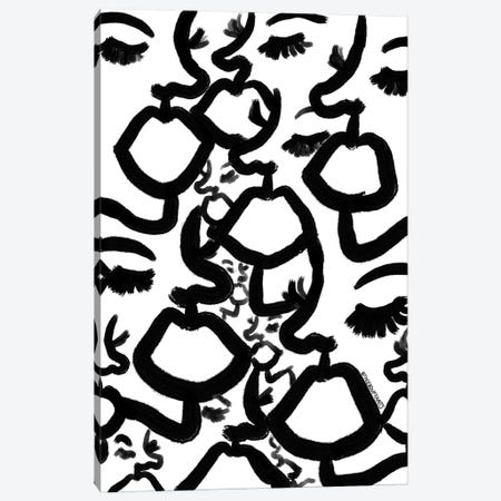 Black And White Abstract Faces Canvas Print #BBH250} by Bouffants & Broken Hearts Canvas Wall Art