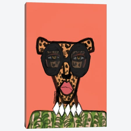 Cheetah Fashionista Canvas Print #BBH256} by Bouffants & Broken Hearts Canvas Art Print