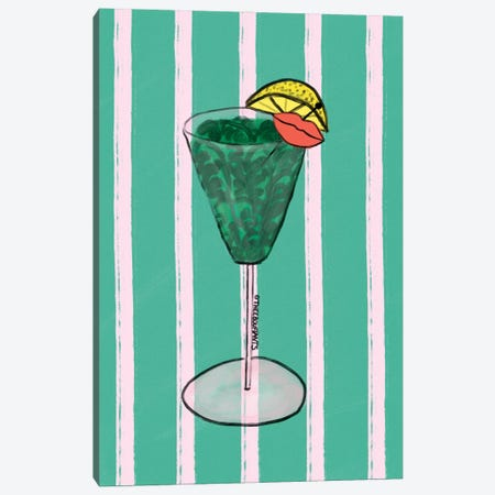 Tropical Martini Canvas Print #BBH279} by Bouffants & Broken Hearts Canvas Wall Art