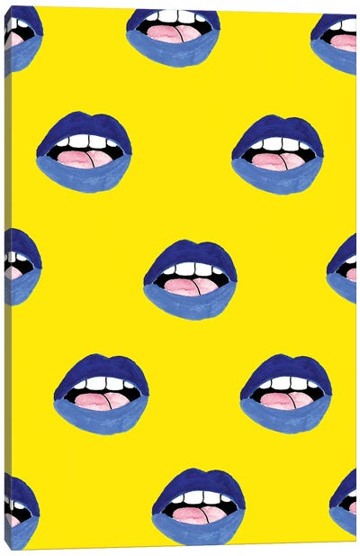 Blue Lips Canvas Art Print