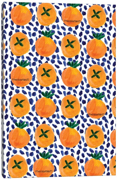Citrus And Blue Dots Canvas Art Print