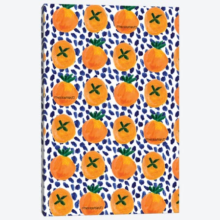Citrus And Blue Dots Canvas Print #BBH40} by Bouffants & Broken Hearts Canvas Artwork