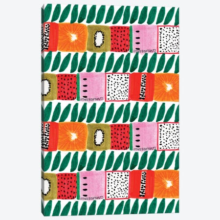 Fruit Squares And Leaves Canvas Print #BBH68} by Bouffants & Broken Hearts Canvas Art