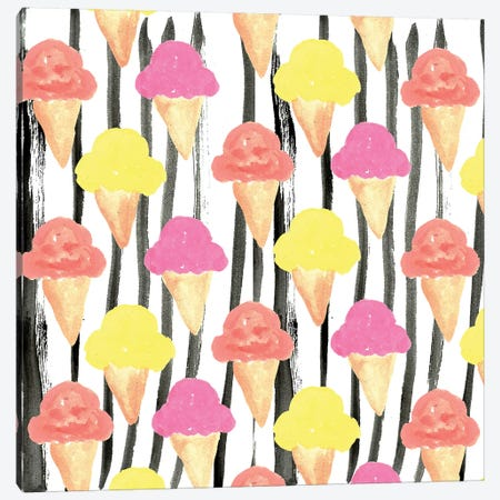 Ice Cream Canvas Print #BBH76} by Bouffants & Broken Hearts Canvas Artwork