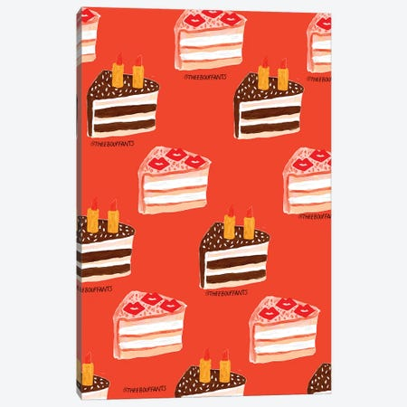 Lipstick Cake Canvas Print #BBH85} by Bouffants & Broken Hearts Art Print