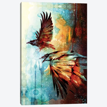 Crows In Flight Canvas Print #BBI19} by Barrett Biggers Canvas Artwork