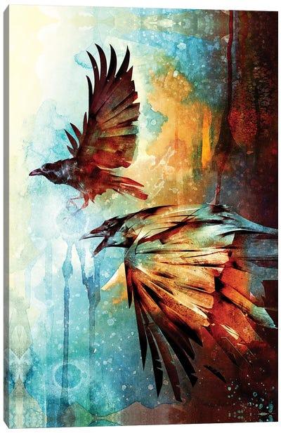 Crows In Flight Canvas Art Print