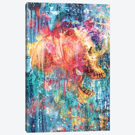 Splatter Skull 3-Piece Canvas #BBI88} by Barrett Biggers Art Print