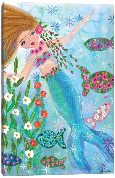 Floral Garden Mermaid Daisy Canvas Art Print