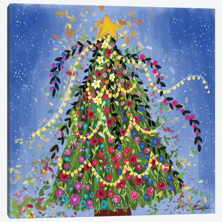 Happy Christmas Tree Canvas Print #BBN159} by Brenda Bush Canvas Print