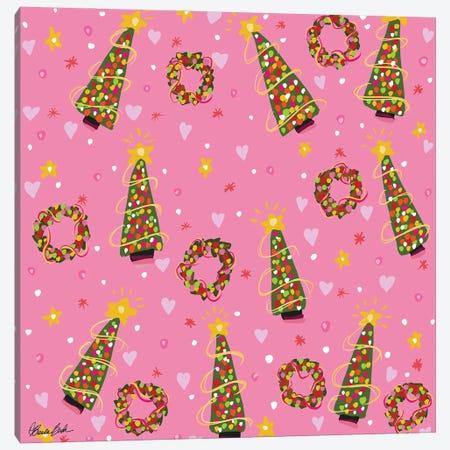Pink Christmas Canvas Print #BBN160} by Brenda Bush Canvas Wall Art