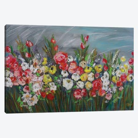 Raining In The Garden Canvas Print #BBN179} by Brenda Bush Art Print