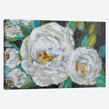 White Blooms Canvas Print #BBN181} by Brenda Bush Canvas Wall Art