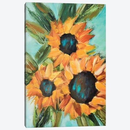 Sunflower Trio Canvas Print #BBN23} by Brenda Bush Canvas Wall Art