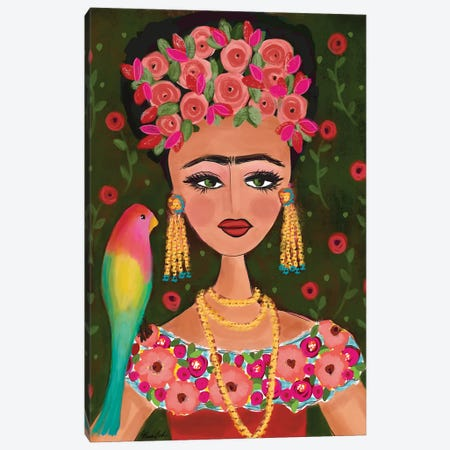 Frida With Her Bird Canvas Print #BBN287} by Brenda Bush Canvas Artwork