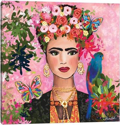 Frida In Her Garden Canvas Art Print