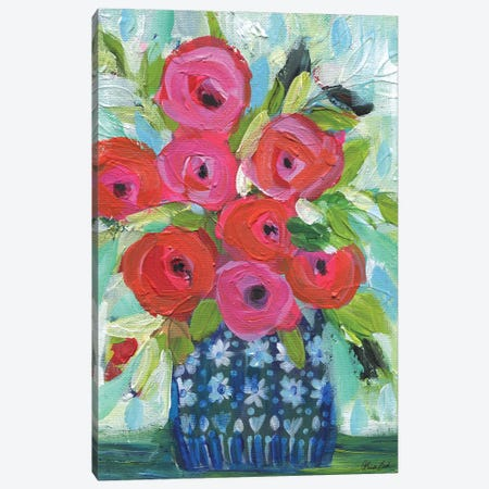 Little Blue Vase Canvas Print #BBN97} by Brenda Bush Canvas Wall Art