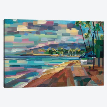 Morning Moon Over Waikiki Canvas Print #BBO19} by Brooke Borcherding Canvas Artwork