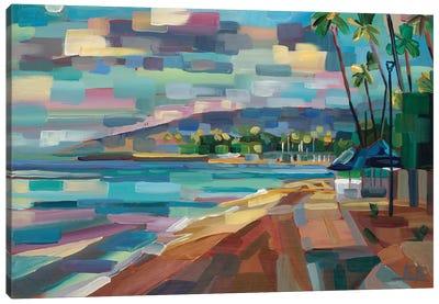 Morning Moon Over Waikiki Canvas Art Print