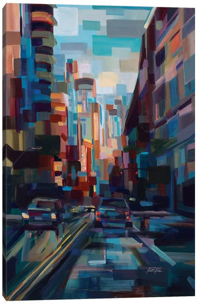 Evening In The City Canvas Art Print