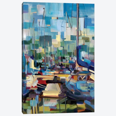 Morning Boats Canvas Print #BBO55} by Brooke Borcherding Art Print