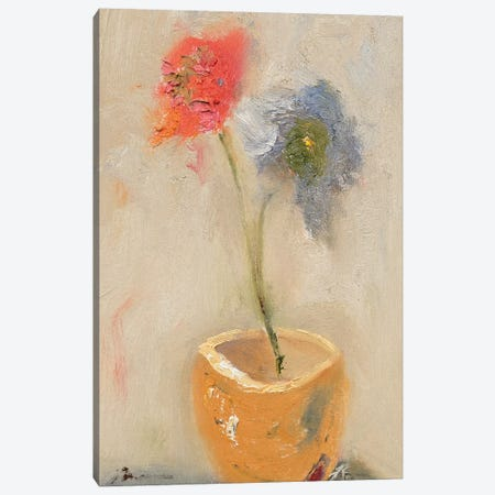 Tea Cup Flowers Canvas Print #BBR48} by Bradford Brenner Canvas Artwork