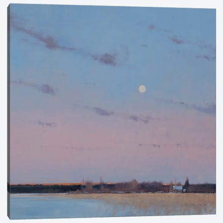 Last Light With Moonrise Over Spring Valley WI Canvas Print #BBU26} by Ben Bauer Canvas Artwork