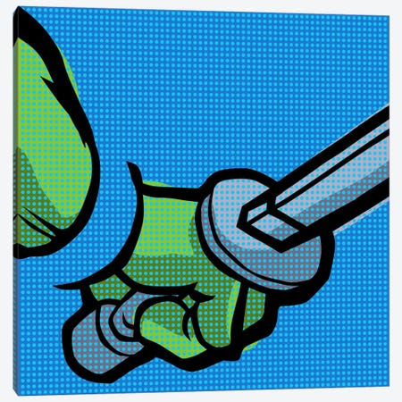 Roy's Pop Martial Art Chelonians - Blue Canvas Print #BBY108} by Butcher Billy Canvas Artwork