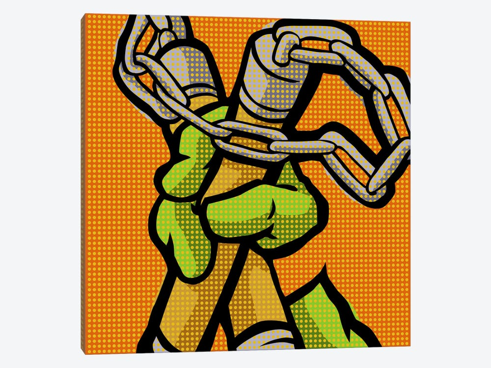 Roy's Pop Martial Art Chelonians - Orange by Butcher Billy 1-piece Canvas Artwork
