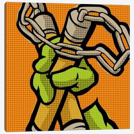 Roy's Pop Martial Art Chelonians - Orange Canvas Print #BBY109} by Butcher Billy Canvas Artwork