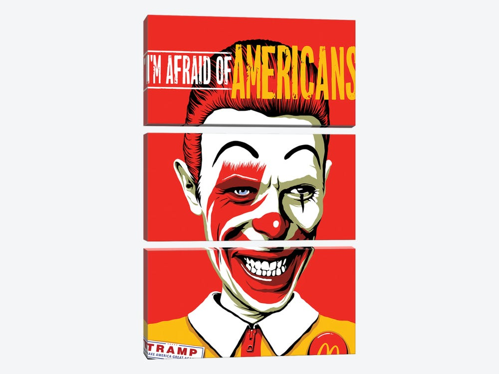 I'm Afraid Of Americans by Butcher Billy 3-piece Canvas Wall Art