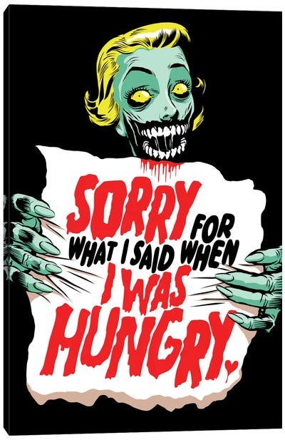 Sorry Zombie Canvas Art Print