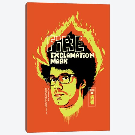 Fire Exclamation Mark Canvas Print #BBY19} by Butcher Billy Canvas Wall Art