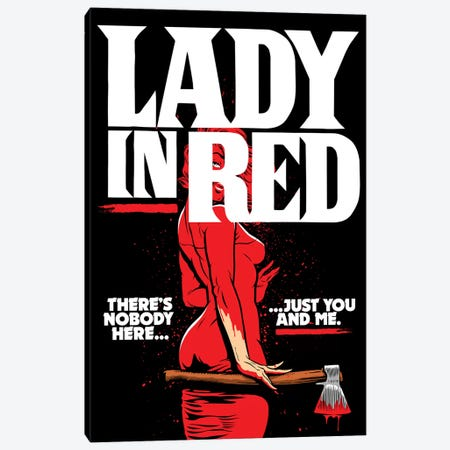 Lady In Red Canvas Print #BBY236} by Butcher Billy Art Print