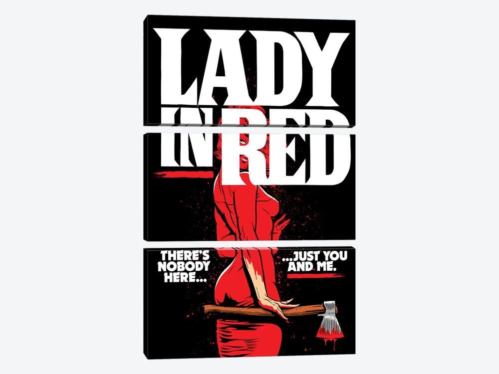 Lady In Red by Butcher Billy 3-piece Canvas Artwork