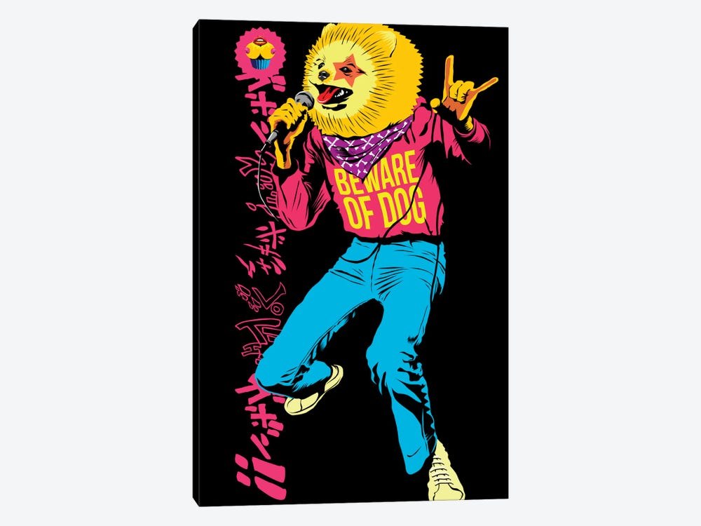 Pomeranian Rock Dogs - Beware of Dog by Butcher Billy 1-piece Art Print