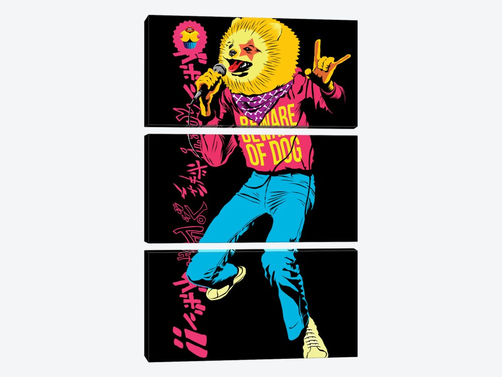 Pomeranian Rock Dogs - Beware of Dog by Butcher Billy 3-piece Canvas Art Print