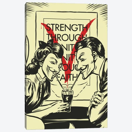 V for Valentine Canvas Print #BBY39} by Butcher Billy Canvas Artwork