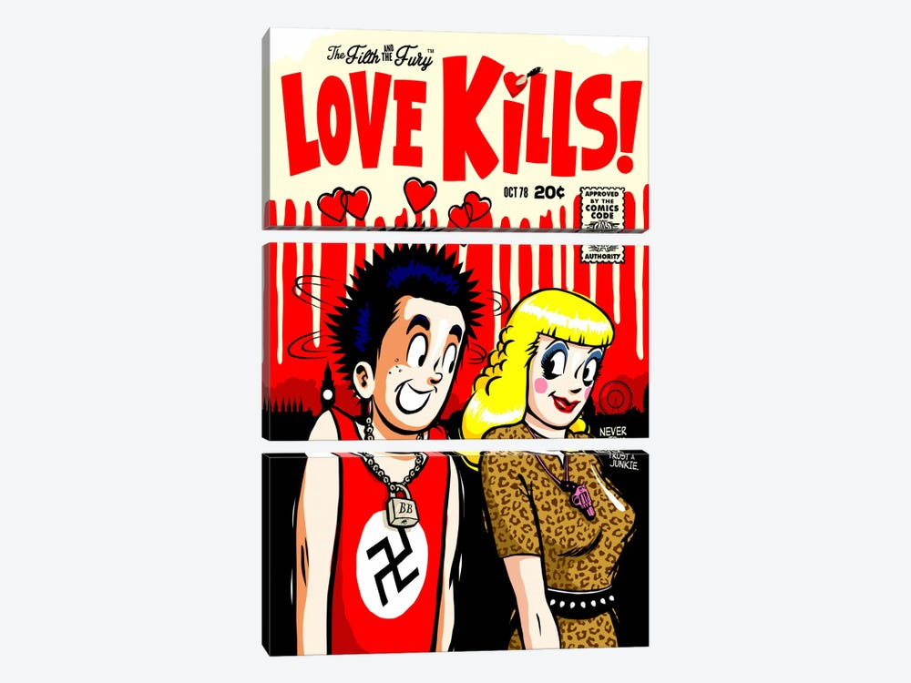 The Filth and The Fury - Love Kills by Butcher Billy 3-piece Canvas Art