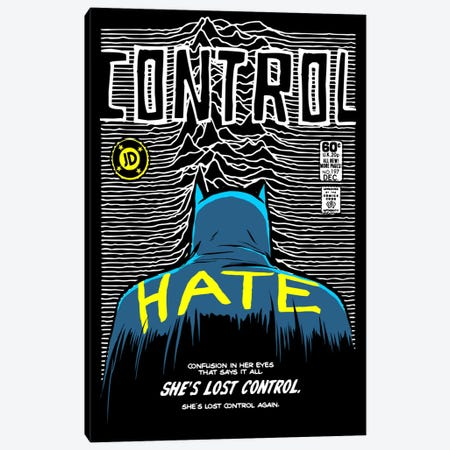 Post-Punk Bat - Control Canvas Print #BBY93} by Butcher Billy Canvas Artwork