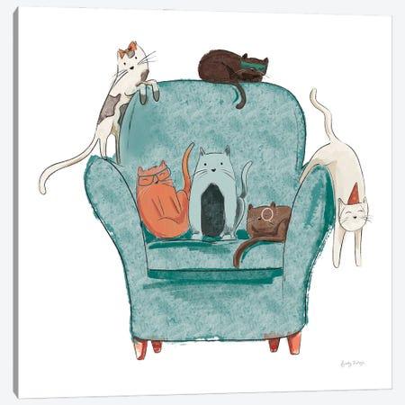 Playful Pets Cats I Canvas Print #BCK100} by Becky Thorns Canvas Art