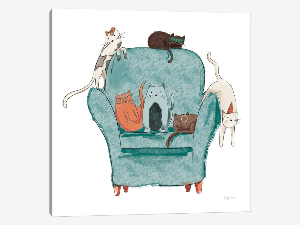 Playful Pets Cats I by Becky Thorns 1-piece Canvas Wall Art