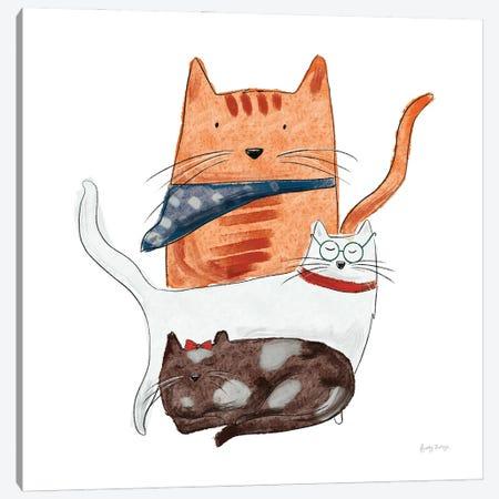 Playful Pets Cats II Canvas Print #BCK101} by Becky Thorns Canvas Wall Art