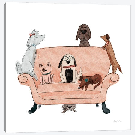 Playful Pets Dogs I Canvas Print #BCK102} by Becky Thorns Canvas Wall Art