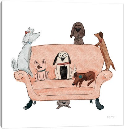 Playful Pets Dogs I Canvas Art Print