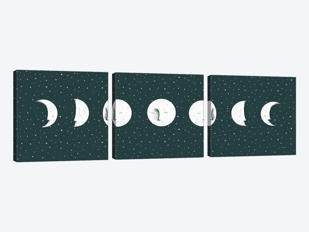 Sweet Dreams Moon Cycle by Becky Thorns 3-piece Canvas Art