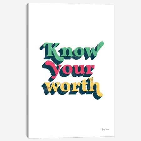 Rainbow Know Your Worth Bold Canvas Print #BCK106} by Becky Thorns Canvas Art Print