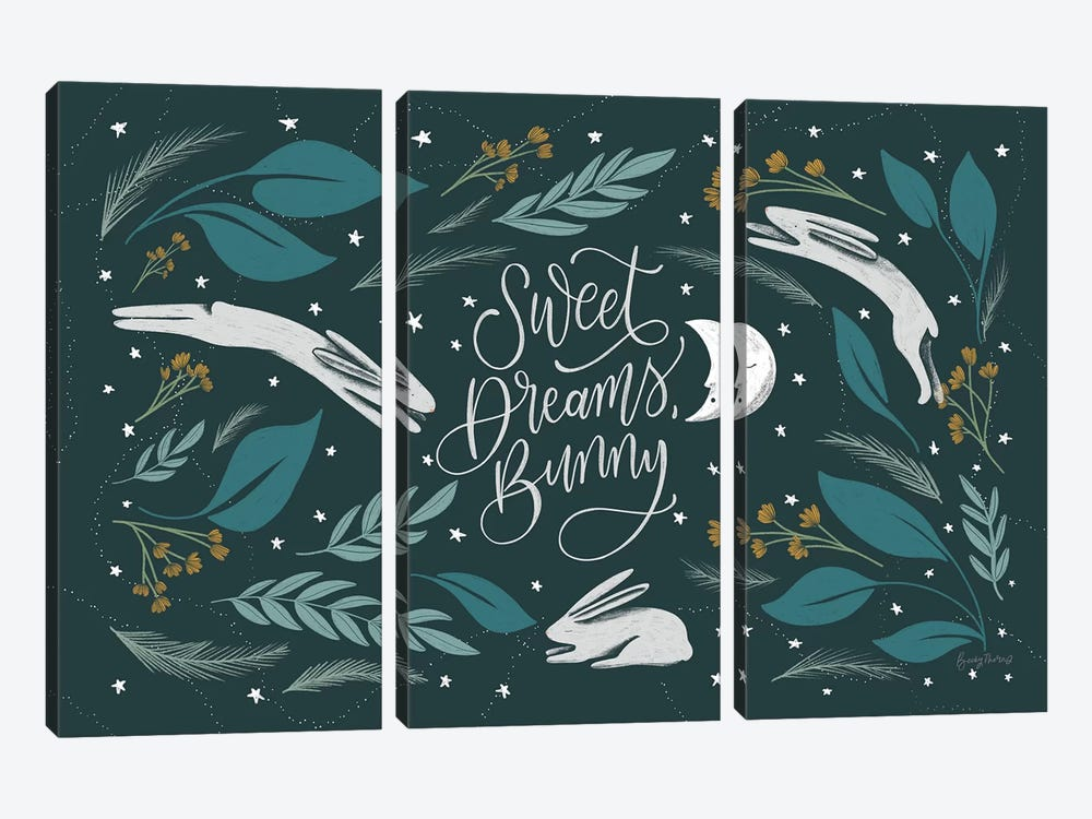 Sweet Dreams Bunny I by Becky Thorns 3-piece Canvas Art Print