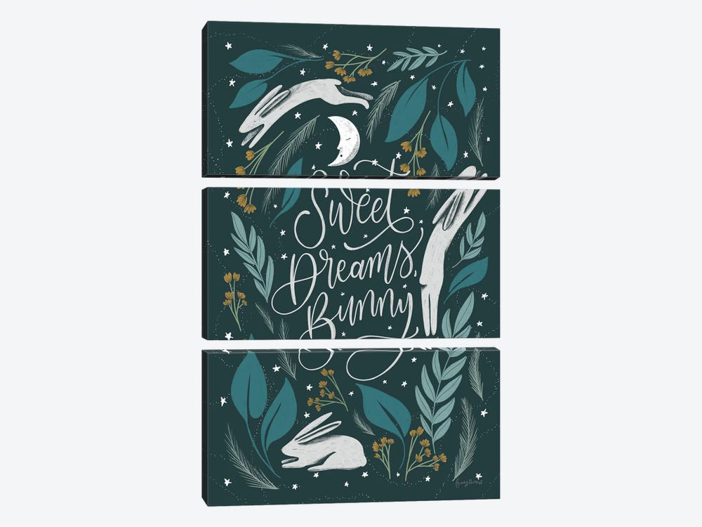 Sweet Dreams Bunny II by Becky Thorns 3-piece Canvas Art