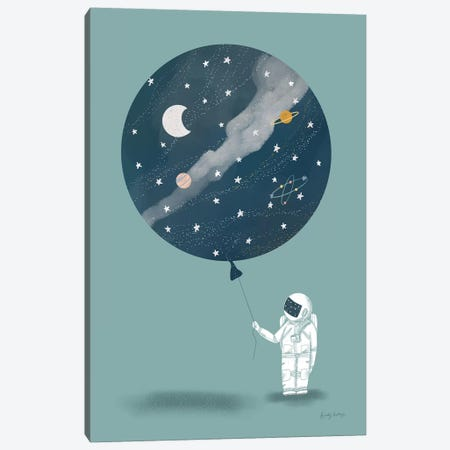 Astronaut Balloon Canvas Print #BCK1} by Becky Thorns Canvas Artwork